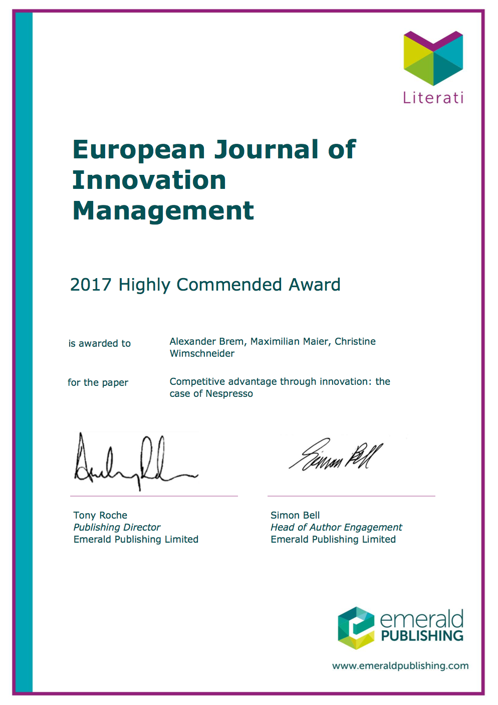 Highly Commended Award of the European Journal of Innovation Management