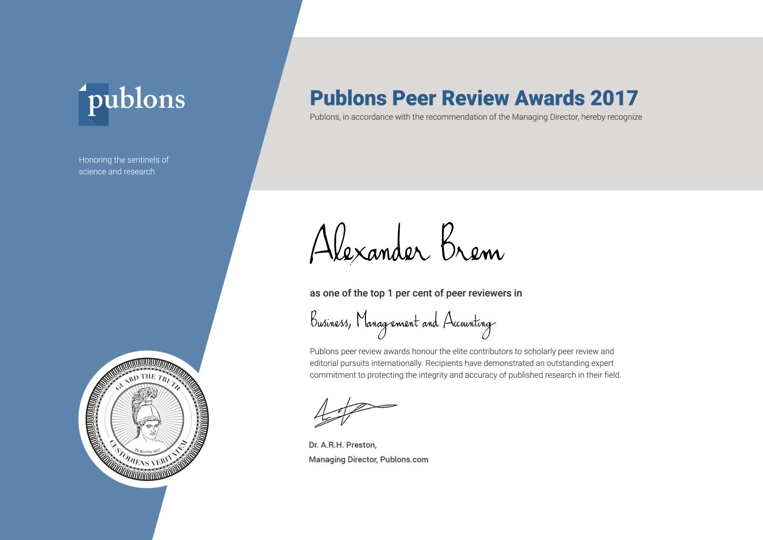 "Towards entry ""Recognition with Publons Peer Review Award 2017"""