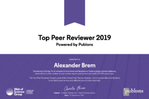"Towards entry ""Publons Peer Review Award for three years in a row"""
