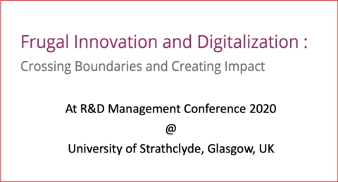 "Towards entry ""Frugal Innovation and Digitalization Track at R&D Management"""